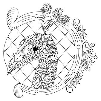 Main dessinée de tête de paon dans un style zentangle