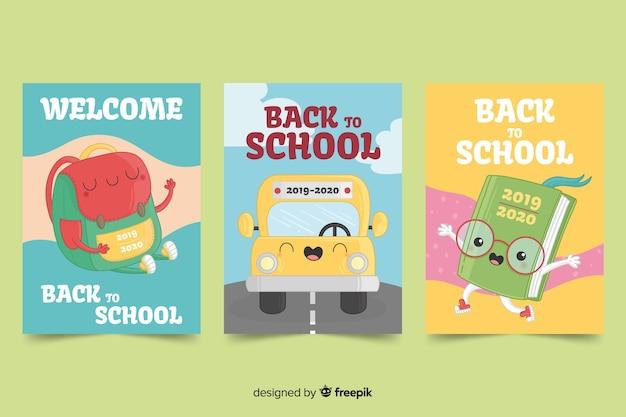 Main dessinée vers le modèle de carte d'école