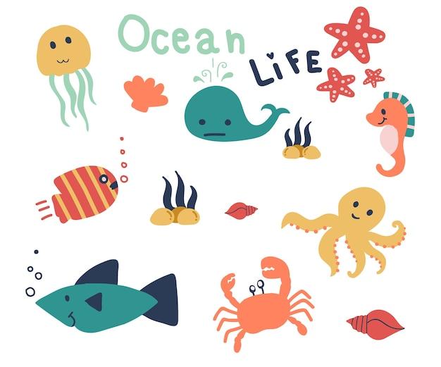 Main dessinée de la vie marine