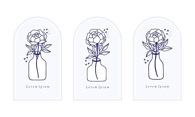 Main dessinée vintage bleu botanique rose, pivoine, modèle de logo de fleur, bouteille, pot et collection d'éléments de marque de beauté féminine