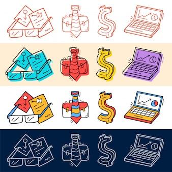 Main dessiner des affaires, dollar, travail, icône de l'ordinateur défini dans le style doodle pour votre conception.