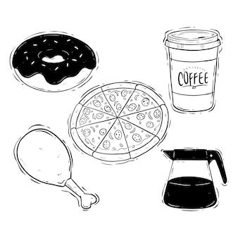 Main dessiner des aliments pour le déjeuner ou une collection de malbouffe sur fond blanc