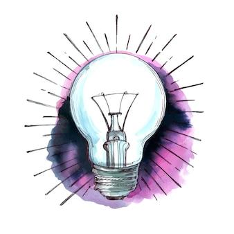 Main dessiner une ampoule dans un design aquarelle