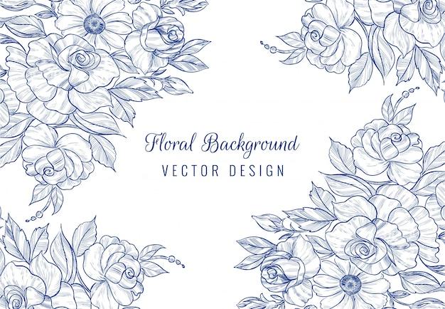 Main dessiner une carte floral botanique sur fond blanc