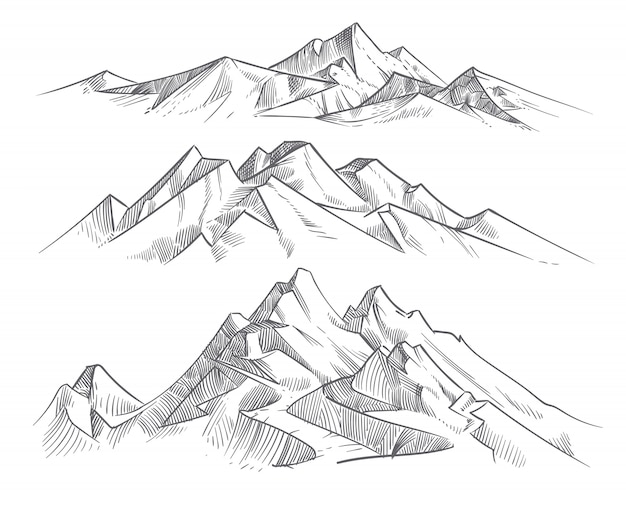 Main dessiner des chaînes de montagnes dans le style de gravure. paysage de montagne vecteur panorama vintage nature. croquis en plein air de pointe, illustration de la chaîne de montagnes paysage