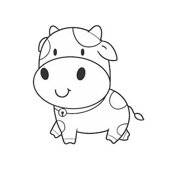 Main dessiner à colorier mignon vache