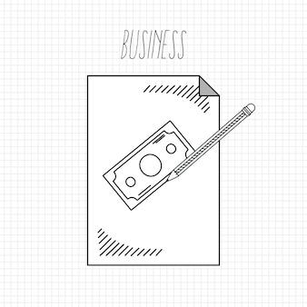 Main dessiner le concept de dessins animés de l'école de commerce