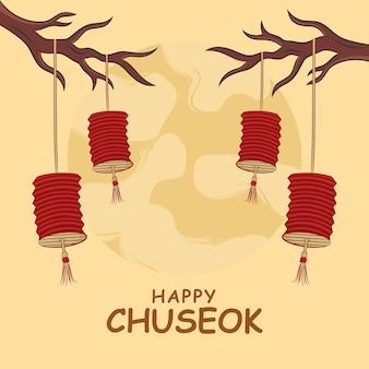 Main dessiner le concept de festival de chuseok. illustration