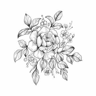 Main dessiner la conception de croquis floral décoratif