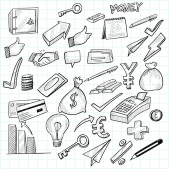 Main dessiner la conception de jeu d'icônes de croquis doodle