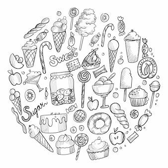 Main dessiner croquis doodle bonbons conception de crème glacée de bonbons