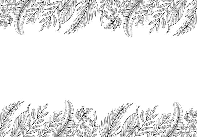 Main dessiner croquis de feuilles de plantes tropicales