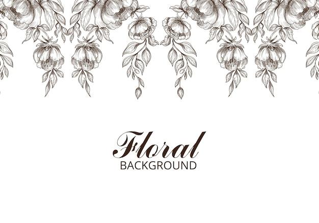 Main dessiner un croquis floral décoratif