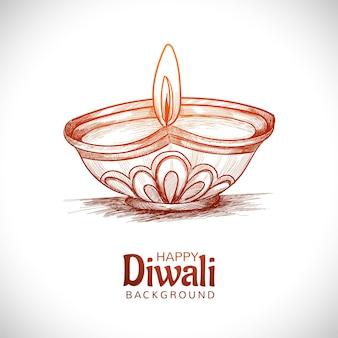Main dessiner croquis fond de festival de lampe à huile diwali