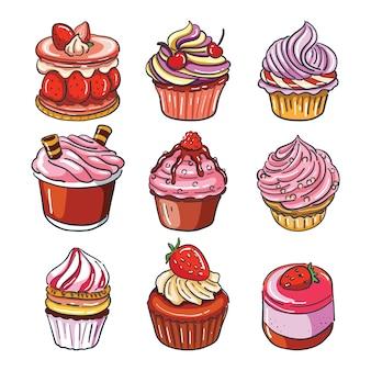 Main dessiner des cupcakes à la fraise