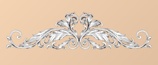 Main dessiner défilement de cadre baroque vintage