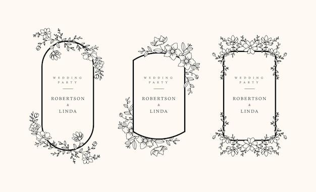 Main dessiner un design floral féminin pour invitation de mariage et autres