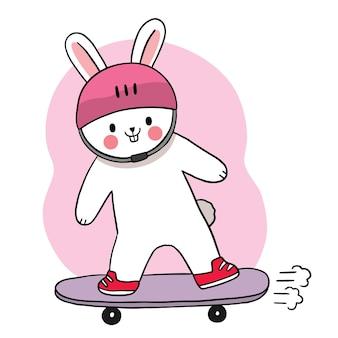 Main dessiner dessin animé lapin mignon jouant le vecteur de tableau de croquis.