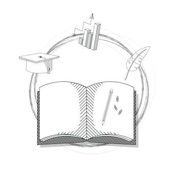 Main dessiner dessin animé de livre d'éducation
