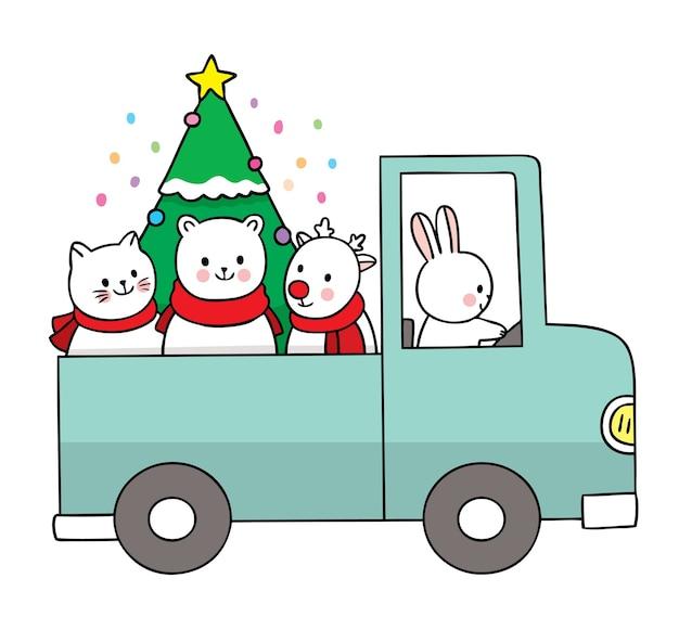 Main dessiner dessin animé mignon joyeux noël, animais et arbre de noël dans la voiture