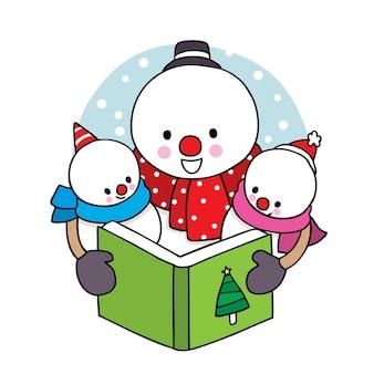 Main dessiner dessin animé mignon joyeux noël, livre de lecture de bonhomme de neige de famille