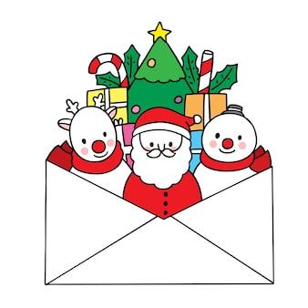 Main dessiner dessin animé mignon joyeux noël, père noël et renne et bonhomme de neige en grande lettre