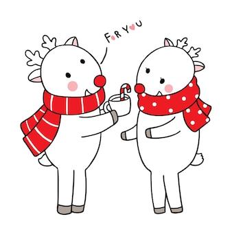 Main dessiner dessin animé mignon joyeux noël, rennes et tasse de café