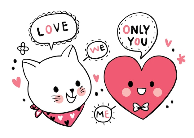 Main dessiner dessin animé mignon saint valentin, chat et grand coeur