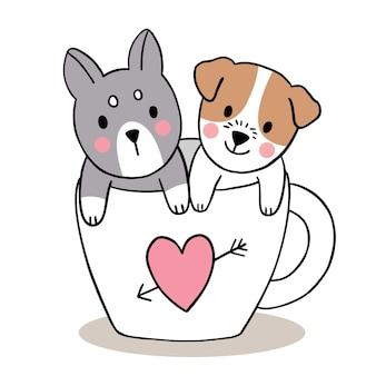 Main dessiner dessin animé mignon saint valentin, chiens en tasse de café