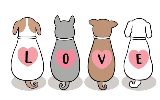 Main dessiner dessin animé mignon saint valentin, chiens et texte d'amour