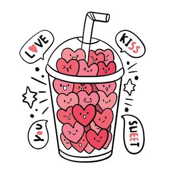 Main dessiner dessin animé mignon saint valentin, coeurs en verre