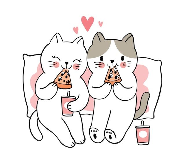 Main dessiner dessin animé mignon saint valentin, couple mangeant une pizza