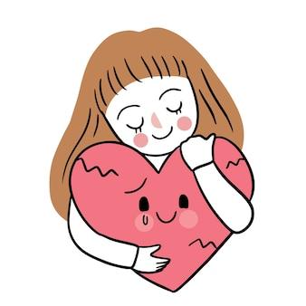 Main dessiner dessin animé mignon saint valentin, femme et coeur de tristesse