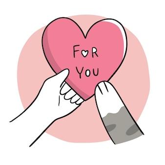 Main dessiner dessin animé mignon saint valentin