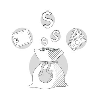 Main dessiner des dessins animés d'argent