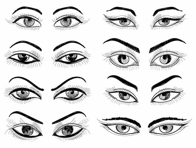 Main dessiner différentes scénographies de croquis d'oeil féminin