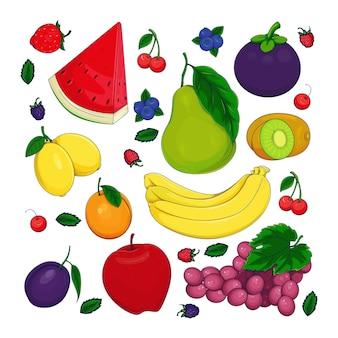 Main dessiner doodle de fruits frais