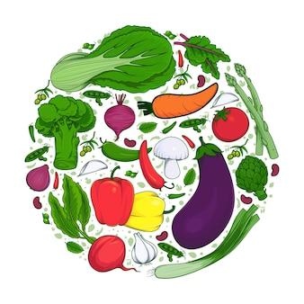 Main dessiner doodle de légumes frais