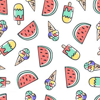 Main dessiner doodle modèle sans couture de crème glacée et melon d'eau