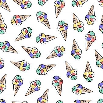 Main dessiner doodle modèle sans couture de crème glacée