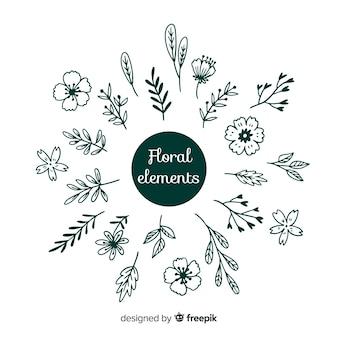 Main dessiner des éléments de décoration floraux incolores