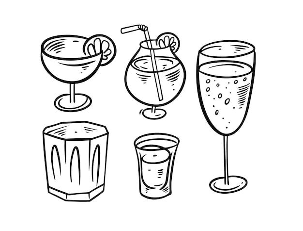 Main dessiner ensemble de boissons noir et blanc isolé sur blanc