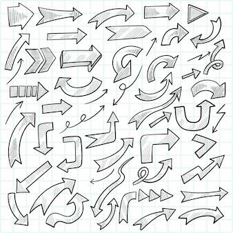 Main dessiner ensemble de flèche commerciale doodle géométrique