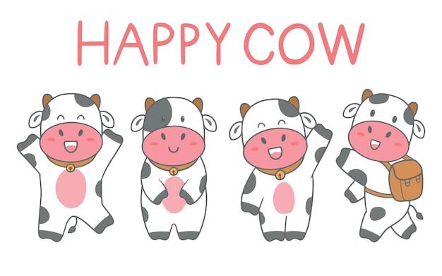 Main dessiner ensemble de vache mignonne