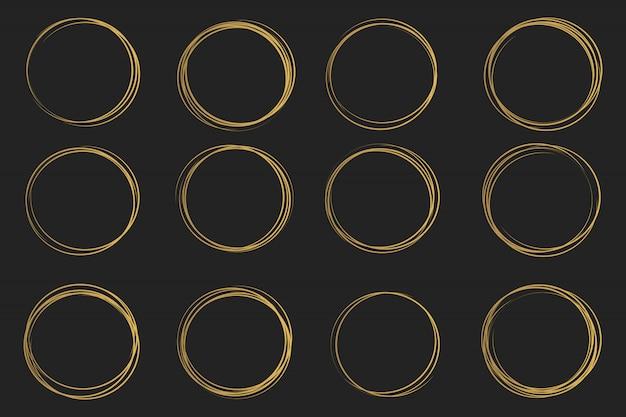Main dessiner esquisse de ligne de cercle, griffonnage gribouillis.