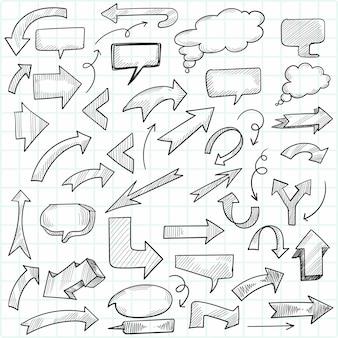 Main dessiner flèche de doodle géométrique et jeu de bulles de discours