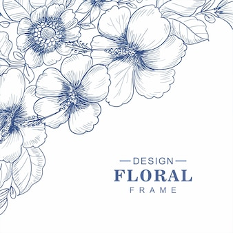 Main dessiner fond de carte de croquis floral