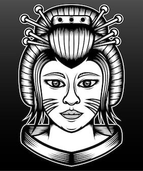 Main dessiner geisha japonaise isolée sur fond noir