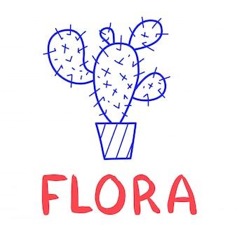 Main dessiner l'icône de cactus dans le style doodle pour votre conception avec le lettrage.