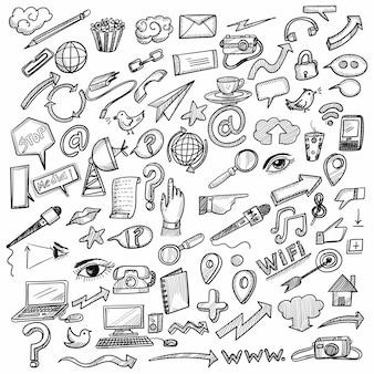 Main dessiner idée d & # 39; entreprise doodles conception de croquis